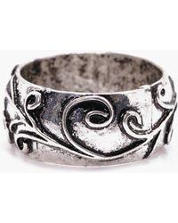 Boohoo Silver Leaf Etched Ring - Metallic