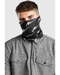 BoohooMAN Man Script And Plain Snood Pack - Black