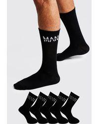 BoohooMAN MAN Dash 5 Pack Sport Socks - Noir