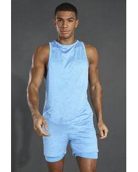 BoohooMAN Man Active Lightweight Marl Racer Tank - Blue