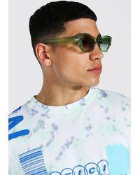 BoohooMAN Ovale angewinkelte Sonnenbrille - Grün