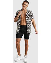 BoohooMAN Short Sleeve Revere Collar Semi-Sheer Animal Shirt - Schwarz