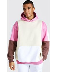 BoohooMAN Oversized Hoodie im Colorblock-Design - Pink