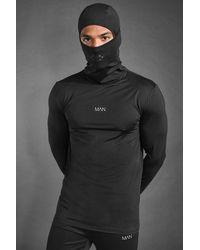 BoohooMAN MAN Active Muscle-Fit Hoodie mit Loop-Schal - Schwarz