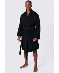 BoohooMAN Man Signature Heavy Jersey Dressing Gown - Black