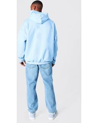 BoohooMAN Oversized Official Print Hoodie - Blue