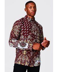 BoohooMAN Langärmeliges Shirt aus Satin mit Paisley-Print - Rot