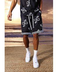 BoohooMAN Tall Mid Length Paisley Basketball Short - Black