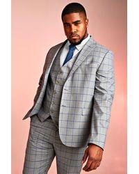 BoohooMAN Big & Tall Skinny Fit Blazer mit Fensterkaros - Grau