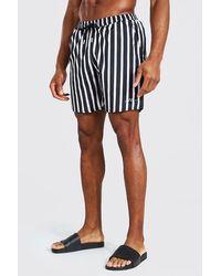 BoohooMAN Man Vertical Stripe Mid Length Swim Short - Black