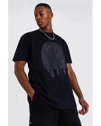 BoohooMAN Oversized Tonal Drip Face Print T-shirt - Black