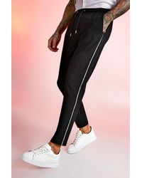 BoohooMAN Pantalon de jogging habillé métallique à bande - Noir