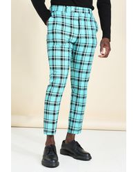 BoohooMAN Skinny Tartan Smart Cropped Trouser - Blue