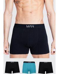 BoohooMAN Lot de 3 boxers imprimé ton sur ton MAN Dash - Bleu