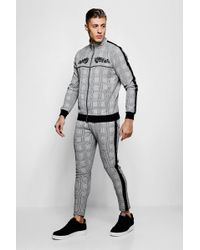 Boohoo - Skinny Fit Embroidered Check Woven Tracksuit - Lyst