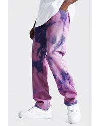 BoohooMAN Straight Leg Jeans mit Batik-Muster - Pink