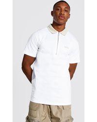 BoohooMAN Original Man Polo With Contrast Collar - White