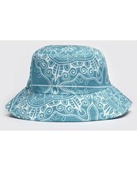BoohooMAN Bandana Border Print Bucket Hat - Blue