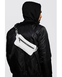 BoohooMAN Reflective Mini Man Branded Cross Body Bag - Grey