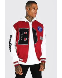 BoohooMAN B Varsity Patch Bomber With Leather Look Sleeves - Red