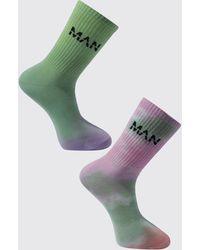 BoohooMAN 2er-Pack Batik Man Socken - Pink
