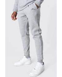 BoohooMAN Recycled Man Signature Skinny Fit Jogger - Grey