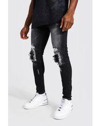 BoohooMAN Super Skinny Biker Jeans mit Rissen und Flicken - Grau