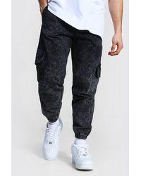BoohooMAN Regular Fit Acid Wash Cargo Trouser - Mehrfarbig