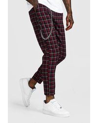 BoohooMAN Tartan Flannel Cropped Jogger With Chain Detail - Blue