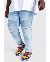 BoohooMAN Plus zerrissene Skinny Stretch Ombre Biker-Jeans - Weiß