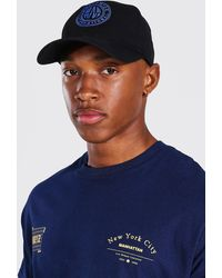 BoohooMAN Worldwide Embroidered Cap - Blue
