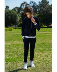 Boohoo - French Sports Rib Bomber Velour Tracksuit - Lyst