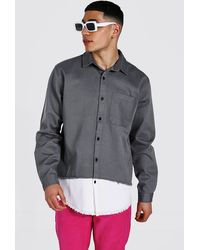 BoohooMAN Mehrfarbiges Überhemd aus Twill - Grau