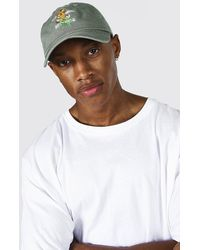 BoohooMAN Washed Floral Embroidery Cap - Multicolour
