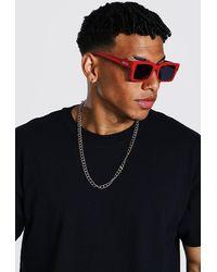 BoohooMAN Man Rectangular Sunglasses - Rouge