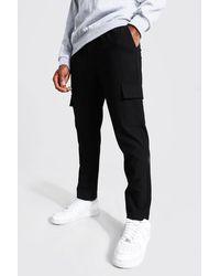 BoohooMAN Skinny Plain Cargo Smart Cropped Jogger Trousers - Black