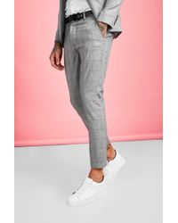 BoohooMAN Smart Check Skinny Fit Suit Pants - Brown