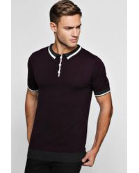 Boohoo - Short Sleeve Knitted Polo With Tipping - Lyst