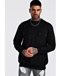 BoohooMAN Oversized Utility Pocket Sweatshirt - Black
