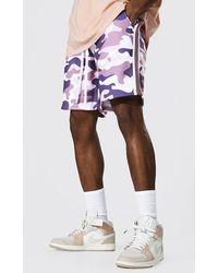 BoohooMAN Loose Original Man Camo Side Panel Shorts - Pink