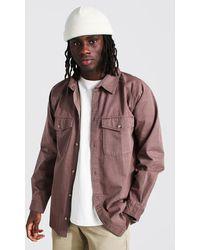 BoohooMAN Long Sleeve Twill Utility Overshirt - Brown