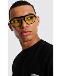BoohooMAN Flat Top Round Sunglasses - Gelb