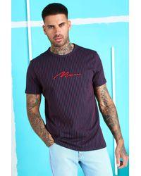 BoohooMAN Man Signature Jacquard Pinstripe T-shirt - Blue
