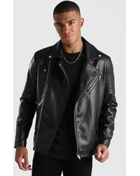 BoohooMAN Leather Look Biker Jacket - Black