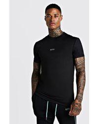 BoohooMAN Man Active Tee With Airtex Sleeves - Black