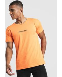 BoohooMAN Man Official Fitted T-shirt In Neon - Orange