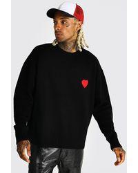 BoohooMAN Oversize Pullover mit Herz-Stickerei - Schwarz