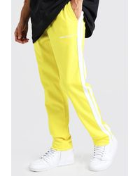 BoohooMAN Man Official Tricot Joggers With Side Tape - Yellow