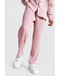 BoohooMAN Pleated Slim Tapered Cropped Jogger Trouser - Pink