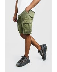 BoohooMAN Washed Cotton Slim Fit Cargo Short - Green